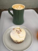 Carrot cake & latte at Sunday Bake Shop