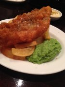 Fish & Chips with mashed peas