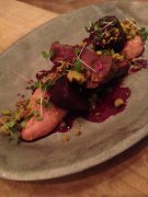 Deer with beets and pistachio